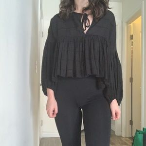Free People Beaumont Mews Balloon Sleeve Blouse